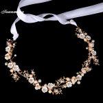 TUANMING Gold Crystal Hair <b>Jewelry</b> Women Bride Headbands Pearl Flowers Wedding Hair Bands Bridal Tiaras Hair Accessories Crown