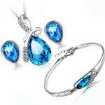 100% <b>Silver</b> 925 AAA Jewelry Sets for Women Navy Blue Water Drop Jewelry Set Crystal Solid <b>Silver</b> Necklace + Earring + <b>Bracelet</b>