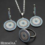 Amazing Fashion Nano Jewelry Set 925 Sterling <b>Silver</b> Necklace <b>Earrings</b> Ring 8# Sets Special Bridal Wedding Gift