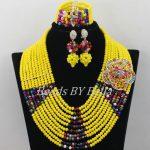 Fashion Yellow Crystal <b>Necklace</b> African Beads <b>Jewelry</b> Set Nigerian Wedding Party Beads Lace Jewlery Set Free Shipping ABF483