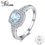 JewelryPalace Cushion Cut 0.9ct Natural Aquamarine Halo Engagement Ring 925 Sterling <b>Silver</b> <b>Jewelry</b> Engagement Rings For Women
