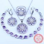 Wedding/Engagement Jewelry Purple Jewelry Sets Round Cubic Zirconia CZ Stone <b>Silver</b> 925 Earrings Necklaces <b>Bracelets</b> Rings Sets