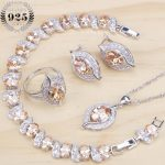 Bridal <b>Silver</b> 925 Jewelry Sets Cubic Zirconia Wedding Jewelry Rings <b>Bracelet</b> Necklace Earrings For Women Stone Set Gift Box