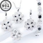 <b>Silver</b> 925 Wedding Costume Jewelry Sets Black Zirconia <b>Bracelets</b> Earrings Ring Pendant Necklace For Women Set Jewellery Gift Box