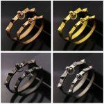 Fashion <b>Jewelry</b> Stainless Steel Punk Rivet Bracelets & Bangles For Women Men Buckle Cuff Bracelet Lovers <b>Accessories</b>