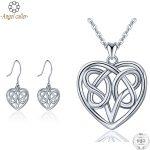 Angel Caller 925 Sterling <b>Silver</b> Heart Jewelry Sets Celtics Knot Pendant Necklace Dangle <b>Earrings</b> for Women Girls Fine Jewelry