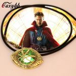 Caxybb 2016 Doctor Strange Necklace Glow In Dark Eye Shape Bronze <b>Antique</b> Pendant Film With Leather Cord Cosplay <b>Jewelry</b> for men