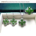 Russian Jasper Jewelry Sets Charms Lucky Four-leaf Clovers Jade Pendant Ring <b>Earrings</b> Certified Natural Hetian Jade High Quality