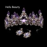 Classic Vintage Hair Accessories Elegant Big Purple Wedding Tiaras Crystal Bridal Hair <b>Jewelry</b> Large Queen Crown For Bridesmaid