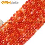 Gem-inside 4mm 15inch Round Faceted Red Tiny Small Spacer Seed Carnelian Agates Beads For <b>Jewelry</b> <b>Making</b> Necklace DIY Jewellery