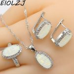 925 Silver <b>Jewelry</b> Sets For Women Long Oval Pink White Blue Opal Bridal Earring Sets Pendant Rings Clip Earrings Free Gift Box