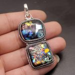 50% OFF Vintage Rainbow Dichroic Glass 925 Sterling <b>Silver</b> Charms Pendant <b>Necklace</b> Jewelry 2 3/4 INCH PT04