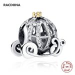 Retro 100% 925 Sterling Silver Openwork Cinderella's Pumpkin Charm Fit pandora Bracelet Bead Gold Color Crown DIY <b>Jewelry</b> <b>Making</b>