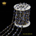 5 Meters 6mm Smooth Round Blue Sodalite Beads Chains,Golden Plated Brass Rosary Links Rosary Chains <b>Jewelry</b> <b>Supplies</b>,ZJ-30