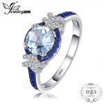 JewelryPalace Beautifully Square Created Sapphire 3 Stones Ring 925 Sterling <b>Silver</b> Bridal Wedding <b>Jewelry</b> Anniversary Gifts