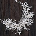 Silver Floral Bridal Headband Tiara Wedding Hair Accessories Handmade Hair Vine Crystal Headband Hair <b>Jewelry</b> For Bride