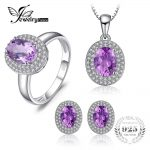 JewelryPalace Classic 4.3 Genuine Amethyst Halo Ring Pendant Necklace Stud <b>Earrings</b> Jewelry Sets 925 Sterling <b>Silver</b> 45cm chain