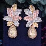 GODKI 68mm Luxury Leaf Drop Flower Full Micro Cubic Zirconia Paved Naija <b>Wedding</b> Party Earring Fashion <b>Jewelry</b> for Women