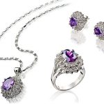 real silver-<b>jewelry</b> Women's Wedding Fashion real silver-<b>jewelry</b> gem Crystal Necklace Pendant Earring Ring Set