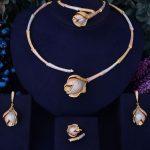 GODKI Bamboo Knot Rose Flower Luxury 3 Tone Women Nigerian Wedding Naija Bride Cubic Zirconia Necklace Dubai 4PCS <b>Jewelry</b> Set