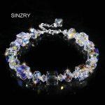 SINZRY NEW 925 Sterling <b>silver</b> Imported crystal charm bracelets Square wishing stone luxury glass crystal <b>jewelry</b> christmas gift