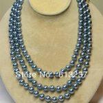 Fashion light blue shell round simulated-pearl 8mm beads diy beautiful necklace <b>jewelry</b> <b>making</b> 60 inch MY5215