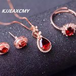 KJJEAXCMY boutique <b>jewelry</b>, pure natural garnet female <b>jewelry</b> set, supporting the identification of 925 sterlin plated 24K gold