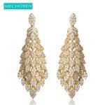 MECHOSEN Fashion Women <b>Wedding</b> <b>Jewelry</b> Flower Long Drop Earrings Gold Color Ear Piercing Cubic Zirconia Dangle Earing Pendientes