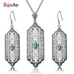 Szjinao Custom 2.8ct Aquamarine Women 925 Sterling <b>Silver</b> Crystal Jewelry Sets <b>Earrings</b>/Pendant Free Vintage bijoux Gift Box