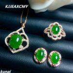 KJJEAXCMY Fine jewelry, 925 <b>silver</b> inlaid natural Jasper jewelry set, simple and generous wholesale
