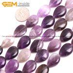 Gem-inside 13X18mm 20mm Natural Stone Beads Flat Drop Teardrop Amethysts Beads For <b>Jewelry</b> <b>Making</b> Beads 15inch DIY Beads