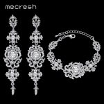 Mecresh Silver/Gold Color Crystal Bridal <b>Jewelry</b> Sets Floral Pattern Long Earrings Bracelet Set 2017 <b>Fashion</b> <b>jewelry</b> SL031+EH182