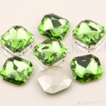 K9 Crystal 4675 23mm square Peridot Fancy Stones Pointed back Glass rhinestones For diy <b>Jewelry</b> <b>Making</b> Garment Accessories