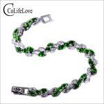 2017 Brand new <b>silver</b> <b>bracelet</b> natural diopside <b>bracelet</b> for woman russian emerald 925 solid sterling <b>silver</b> jewelry