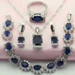 WPAITKY Trendy Blue Created Shappire 925 Sterling <b>Silver</b> Jewelry Set For Women Necklace Earrings <b>Bracelet</b> Ring Free Jewellry Box