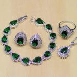 Water Drop Green Zircon White CZ 925 Sterling <b>Silver</b> Jewelry Sets For Women Earrings/Pendant/Necklace/Rings/<b>Bracelet</b>