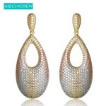 MECHOSEN New Arrival 3 Tone Plated Water Drop Earrings For Women <b>Wedding</b> <b>jewelry</b> Cubic Zirconia Max Brincos India Nigeria Bijoux