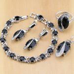 925 Sterling <b>Silver</b> Jewelry Black Cubic Zirconia White CZ Jewelry Sets For Women Earrings/Pendant/Necklace/Rings/<b>Bracelet</b>