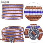 KELITCH Bracelets <b>Jewelry</b> Seed Beaded Bracelets Leather <b>Handmade</b> 5 Wrap Strand Crystal Seed Beaded Charm Bracelets Customized