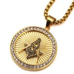 Round Shape Masonic Pendant Stainless Steel Necklaces Hip hop Male <b>Jewelry</b> Gold-colors Personality Cloth <b>Accessories</b> 2018