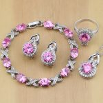 Lovely Pink Cubic Zirconia 925 <b>Silver</b> Jewelry Sets For Women Wedding Earrings/Pendant/Necklace/Rings/<b>Bracelet</b>