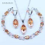 L&B Best Wedding <b>Jewelry</b> For Women Orange Crystal White Zircon 925 Stamp Silver Color <b>Jewelry</b> Sets For Women Nice Bracelets