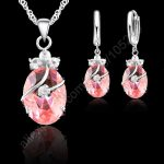 JEXXI Charming 925 Sterling Silver Austrian Crystal Water Drop Pendant Necklace Earrings Sets For Women Wedding <b>Jewelry</b> Sets