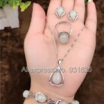 925 <b>silver</b> Natural White HeTian Yu Beads Inlay Lucky Pendant Necklace <b>Bracelet</b> Earring ring Set + certificate Fashion Jewelry