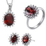 Natural red garnet stone wedding jewelry sets natural garnet stone ring <b>earrings</b> Pendant S925 <b>silver</b> Fashion Round Women wedding