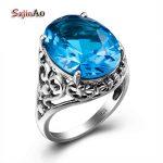 Szjinao Cool <b>Jewelry</b> 100% Women's Blue Topaz Silver Vintage Big Rings <b>Handmade</b> Love Engraved Rings Patterns aneis