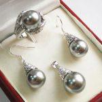 Prett Lovely Women's Wedding Set AAA 12mm Grey Shell Pearl Pendant Necklace Earrings Ring Set>AAA GP Bridal wid brinco