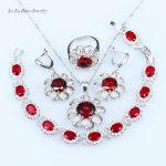 L&B Flawless Four Pieces <b>silver</b> 925 for Women <b>Bracelet</b> Wedding Jewelry Sets Red lab Garnet Ring Size 6/7/8/9 925 logo