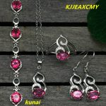 KJJEAXCMY boutique jewels 925 <b>silver</b> inlay natural pink topaz ring pendant <b>earrings</b> bracelet 4 suit jewelry necklace sen