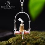 Lotus Fun Moment Real 925 Sterling Silver Natural Mother of Pearl <b>Handmade</b> Fashion <b>Jewelry</b> Miss Rabbit Pendant without Chain